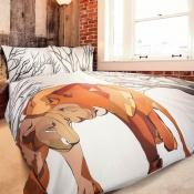 Atraktívny a moderný motív na damaškové posteľných obliečkach Geon Together Lions, Veba